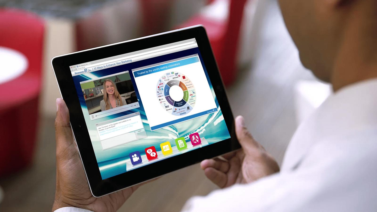 ON24 webcast on tablet grab